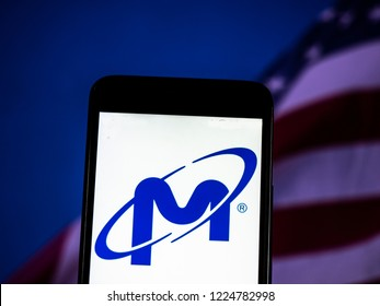 KIEV, UKRAINE - November 6, 2018: Micron Technology Corporation logo seen displayed on smart phone. Micron Technology, Inc. is an American global corporation.