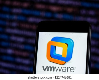 KIEV, UKRAINE - November 8, 2018: VMware Computer software company logo seen displayed on smart phone. VMware, Inc. is a subsidiary of Dell Technologies that provides cloud computing