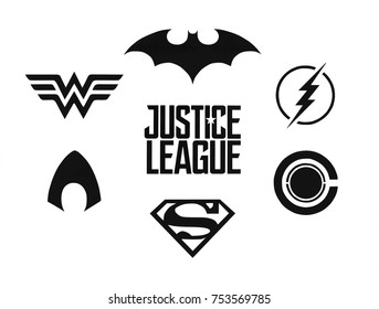 Kiev, Ukraine - November 9, 2017: Set of Justice League (DC comics) black logos printed on paper.