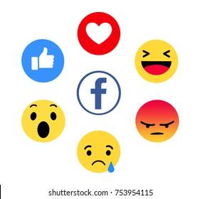 Kiev, Ukraine - November 9, 2017: New Facebook like button 6 Empathetic Emoji. Printed on paper. Facebook is an online social networking service.