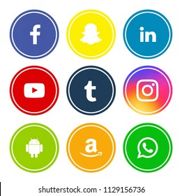 Kiev, Ukraine - Novenber 23, 2017: Set of popular social media icons printed on white paper: Youtube, Snapchat, Facebook, Android, Instagram, Linkedin, Amazon, Tumblr, WhatsApp.