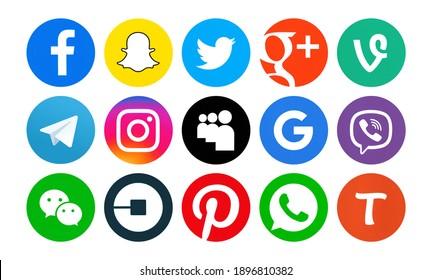 Kiev, Ukraine - Novenber 23, 2020: Set of popular social media icons printed on white paper: Facebook, Snapchat,Twitter, Vine,Telegram, MySpace,Google Plus, Pinterest, WeChat,WhatsApp,Viber, Instagram