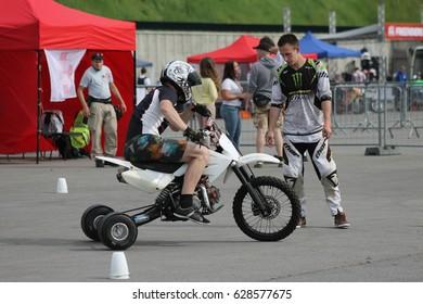 Kiev, Ukraine - Now 22: Drift on a motorcycle - quad bike. Extreme riding, on Now 22, 2015 in Kiev, Ukraine