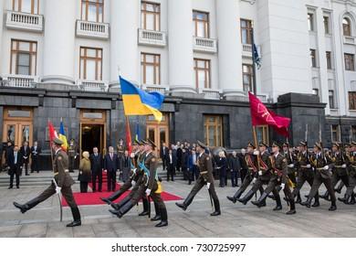 KIEV, UKRAINE - Oct. 09, 2017: Welcoming ceremony during an official visit of Turkish President Recep Tayyip Erdogan with a President of Ukraine Petro Poroshenko