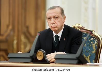 KIEV, UKRAINE - Oct. 09, 2017: Turkish President Recep Tayyip Erdogan during his official visit to Ukraine