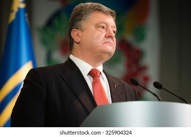 KIEV, UKRAINE - Oct 10, 2015: All-Ukrainian Forum of participants of ATO. President of Ukraine Petro Poroshenko took part in all-Ukrainian forum of participants of anti-terrorist operation