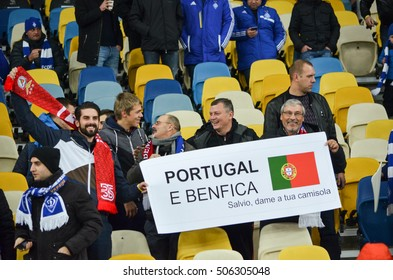 Kiev, UKRAINE - OCT 19, 2016: SL Benfica supporters with placards during the UEFA Champions League match between Dynamo Kiev vs SL Benfica (Portugal), NSC Olympic stadium, 19  October 2016, Ukraine