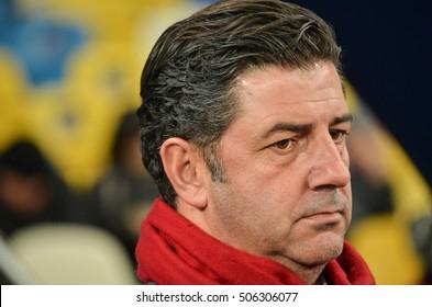 Kiev, UKRAINE - OCT 19, 2016: Coach Rui Vitoria during the UEFA Champions League match between Dynamo Kiev vs SL Benfica (Portugal), NSC Olympic stadium, 19  October 2016, Ukraine