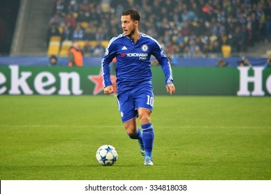 KIEV, UKRAINE - OCT 20: Eden Hazard during the UEFA Champions League match between Dinamo Kiev vs Chelsea (London, England), 20 October 2015, Olympic NSC, Ukraine