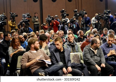 KIEV, UKRAINE - OCT 20: Full room with journalists and photographers at a press conference before the UEFA Champions League match between Dinamo Kiev vs Chelsea, 20 October 2015, Olympic NSC, Ukraine