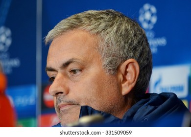 KIEV, UKRAINE - OCT 20: Head coach of Chelsea manager Jose Mourinho at a press conference during the UEFA Champions League match between Dinamo Kiev vs Chelsea, 20 October 2015, Olympic NSC, Ukraine