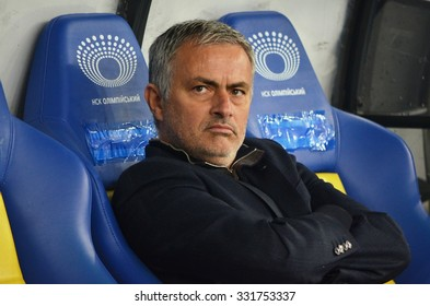 KIEV, UKRAINE - OCT 20: Head coach manager Jose Mourinho during the UEFA Champions League match between Dinamo Kiev vs Chelsea, 20 October 2015, Olympic NSC, Ukraine