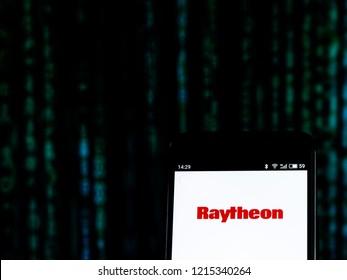 KIEV, UKRAINE - Oct 25, 2018: Raytheon Defense contractor company logo seen displayed on smart phone.