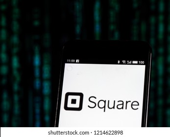 KIEV, UKRAINE - Oct 26, 2018: Square, Inc. logo seen displayed on smart phone. Square, Inc. is a financial services, merchant services aggregator, and mobile payment company