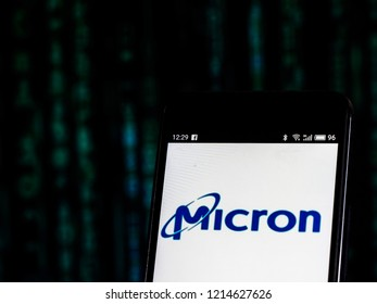 KIEV, UKRAINE - Oct 26, 2018: Micron Technology Corporation  logo seen displayed on smart phone.