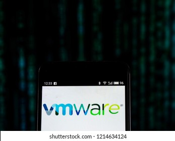 KIEV, UKRAINE - Oct 26, 2018: VMware Computer software company logo seen displayed on smart phone.