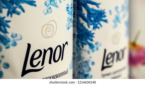 KIEV, UKRAINE - Oct 26, 2018: Lenor laundry conditioner in store. Downy is a brand name of fabric softener produced by Procter & Gamble