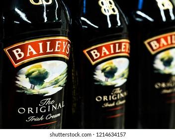 KIEV, UKRAINE - Oct 26, 2018: Baileys Irish Cream Liqueur in store. Baileys Irish Cream is an Irish whiskey and cream-based liqueur, made by Diageo at Nangor Road, in Dublin, Ireland.
