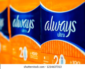 KIEV, UKRAINE - Oct 26, 2018: Always Ultra  Pads in store. Always is a brand of feminine hygiene products, including maxi pads, ultra thin pads, pantiliners, and feminine wipes, by Procter & Gamble.
