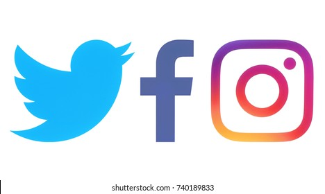 Kiev, Ukraine - Octobaer 06, 2017: Facebook, Twitter and Instagram logos printed on white paper
