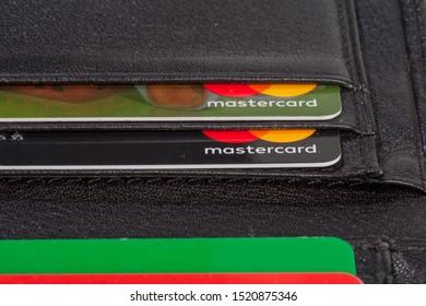 KIEV, UKRAINE - October 03, 2019: credit card Master card in a wallet. Close-up. Macro