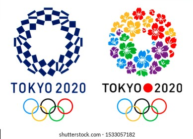 Kiev, Ukraine - October 04, 2019: Official logo of the 2020 Summer Olympic Games in Tokyo, and logo of Tokyo Candidate City, printed on paper.