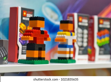 KIEV, UKRAINE - OCTOBER 07, 2017: Light Stax, brand of bricks with LED light at booth during CEE 2017, the largest consumer electronics trade show of Ukraine in KyivExpoPlaza Exhibition Center.