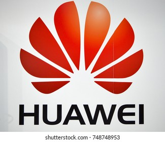 KIEV, UKRAINE - OCTOBER 07, 2017: Huawei logo, a South Korean multinational corporation booth during CEE 2017, the largest electronics trade show of Ukraine in KyivExpoPlaza EC.
