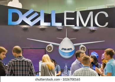 KIEV, UKRAINE - OCTOBER 08, 2017: People visit Dell Emc, an American data storage company booth during CEE 2017, the largest consumer electronics trade show of Ukraine in KyivExpoPlaza EC.