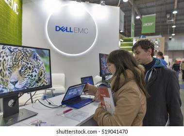 KIEV, UKRAINE - OCTOBER 09, 2016: Unrecognized people visit Dell Emc, an American data storage company booth during CEE 2016, the largest electronics trade show of Ukraine in KyivExpoPlaza EC.