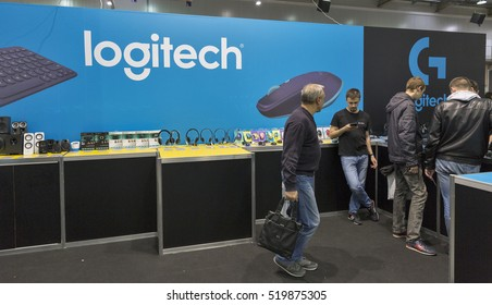 KIEV, UKRAINE - OCTOBER 09, 2016: People visit Logitech, Swiss global provider of computer and tablet accessories booth during CEE 2016, the largest electronics trade show of Ukraine in KyivExpoPlaza.