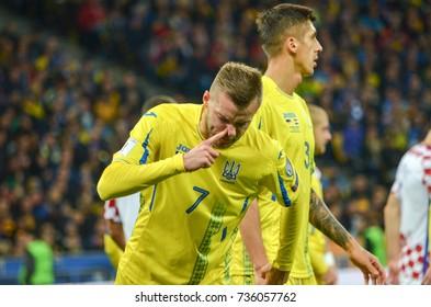 KIEV, UKRAINE - October 09, 2017: Andrei Yarmolenko blows his nose during the FIFA World Cup 2018 qualifying Europe match between Ukraine national team vs Croatia national team, Ukraine
