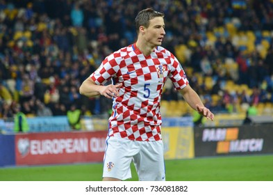 KIEV, UKRAINE - October 09, 2017: Matej Mitrovic during the FIFA World Cup 2018 qualifying Europe match between Ukraine national team vs Croatia national team, Ukraine