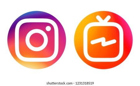 Kiev, Ukraine - October 09, 2018: Circle Instagram and Instagram TV (IGTV) icons printed on white paper.