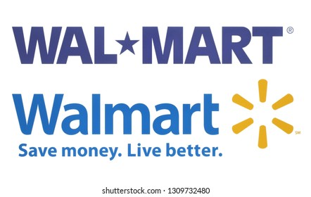 Kiev, Ukraine - October 09, 2018: Walmart old and new logos printed on white paper. Walmart is an American multinational retail corporation
