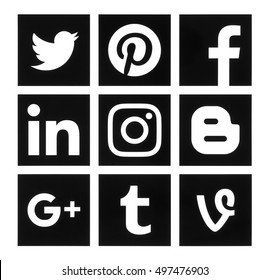 Kiev, Ukraine - October 10, 2016: Collection of popular square black social media logos printed on paper:Facebook, Twitter, Google Plus, Instagram, Pinterest, LinkedIn, Blogger, Tumblr and Vine