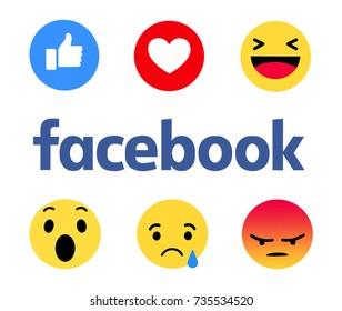 Kiev, Ukraine - October 12, 2017: New Facebook like button 6 Empathetic Emoji. Printed on paper. Facebook is an online social networking service.