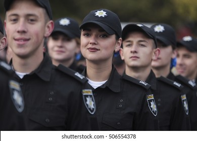 KIEV, UKRAINE - October 13, 2016 : First-year students of the National Academy of Internal Affairs of Ukraine took the oath police officers