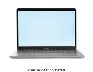 KIEV, UKRAINE - OCTOBER 13, 2017: Apple space gray MacBook Pro on white background