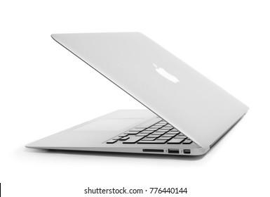 KIEV, UKRAINE - OCTOBER 13, 2017: Apple silver MacBook Air on white background