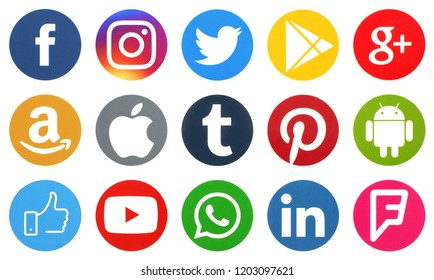 KIEV, UKRAINE - October 13,  2018: This is a photo collection of popular social media logos printed on paper: Facebook, Twitter, LinkedIn, Pinterest, Instagram, Youtube, Line and other