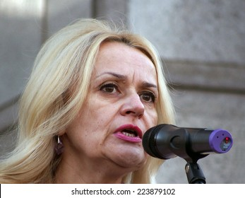 "KIEV , UKRAINE - October 14, 2014: MP from the political party ""Svoboda"" Irina Fahrion."