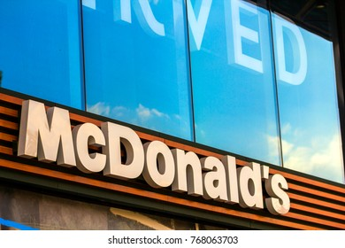 Kiev, Ukraine - October 15, 2017: McDonald's logo. McDonald's is the world's largest chain of hamburger fast food restaurants