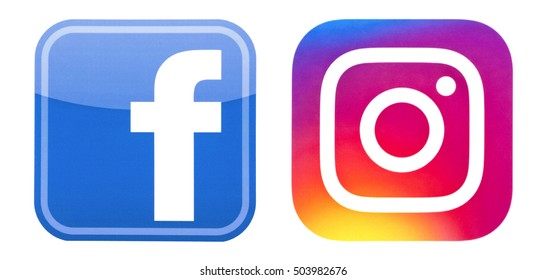 Kiev, Ukraine - October 16, 2016: Set of Facebook and Instagram logos, printed on paper and placed on white background.
