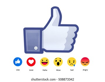 Kiev, Ukraine - October 16, 2016: New Facebook like button 6 Empathetic Emoji. Printed on paper. Facebook is an online social networking service.
