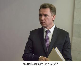 KIEV, UKRAINE - October 17, 2014: Chairman of the Central Election Mykhailo Ohendovsky.