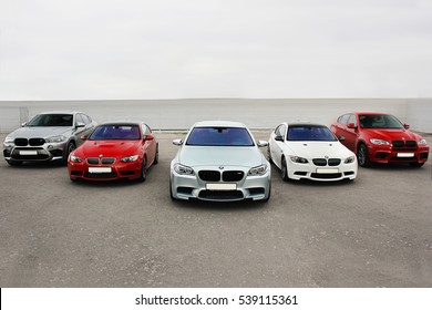 Kiev, Ukraine; October 17, 2016; Super combo supercars. BMW M5 (F10),  BMW X6 M &  BMW M3 (E92).  Editorial photo.