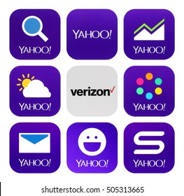 Kiev, Ukraine - October 18, 2016: Yahoo and Verizon Communications icons printed on white paper