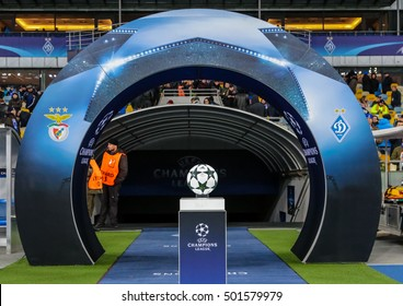 KIEV, UKRAINE: October 19, 2016:  The ball of the Champions League on a pedestal close-up during the UEFA Champions League game between FC Dynamo Kiev vs SL Benfica at NSC Olympic stadium