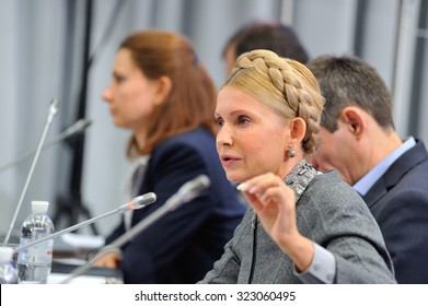 KIEV, UKRAINE - OCTOBER 2, 2015: Yulia Tymoshenko - Ukrainian politician and businesswoman - at a press conference claims that «Naftohaz of Ukraine» must be eliminated